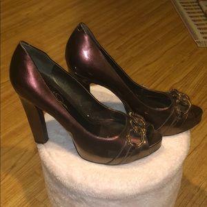 Jessica Simpson metallic bronze peep toe pumps